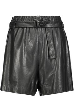 BRUNELLO CUCINELLI Belted Leather Shorts. #brunellocucinelli #cloth #shorts Leather Corset, Leather Shorts, Real Leather, Jumpsuit Dress, Second Skin, Brunello Cucinelli, Dress Making, Belt, Clothes