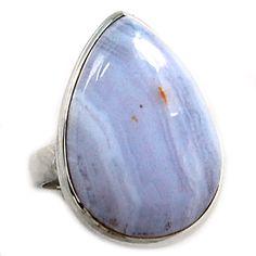 Blue Lace Agate 925 Sterling Silver Ring Jewelry s.7 BLAR314 - JJDesignerJewelry