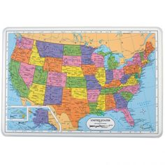 """United States Placemat:""""I wonder where the capital of Texas is?"""" You would point to Austin where the state's capital is. A springboard for all kinds of discussions, this laminated placemat has a labeled U.S. political map on one side and a blank U.S. map on the other.   Label states or chart a student's road trip with any water-based markers (not included). Use this placemat at lunch or snack time or as a fun learning activity any time. Wipe clean with a damp cloth or sponge. 17½ x 12""""."""