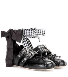 Miu Miu black leather ballerina flats