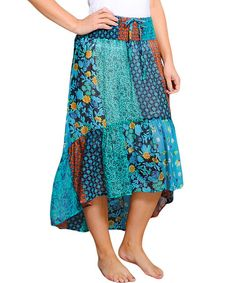 Look at this #zulilyfind! Blue Floral Patchwork Hi-Low Skirt by Lakhay's Collection #zulilyfinds