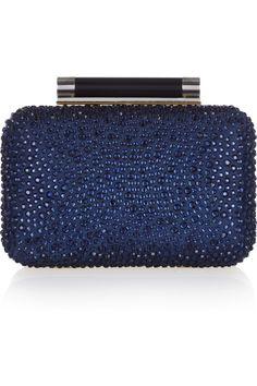 Diane von Furstenberg | Tonda crystal-embellished leather clutch | NET-A-PORTER.COM