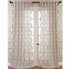Half Price Drapes Dreamweaver Embroidered Sheer Single Curtain Panel