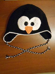 Pingvin horgolt sapka, iboly, meska.hu