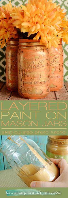 Layered Paint Mason Jars: simple, step-by-step photo tutorial
