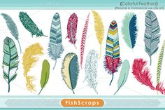 Colorful Feather Clip Art  #CarrieStephens #CreativeMarket