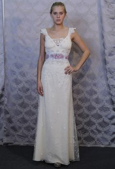 """Brides: Claire Pettibone - Spring 2013. """"Waverly"""" embroidered cotton tulle A-line wedding dress with blue trimmed cap sleeves and a vintage waistband, Claire Pettibone"""