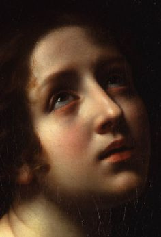 Carlo Dolci - (Detail - close up) portrait of a young woman as Saint Apollonia - Mattheisen Gallery