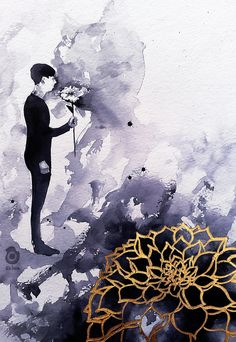 "Phil and the flower at the BRITs 2016 ~ AmazingPhil - watercolour painting by <a href=""http://szluu.tumblr.com"" rel=""nofollow"" target=""_blank"">szluu.tumblr.com</a>"