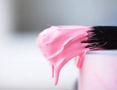 Nothing like a brush dripping with pink paint to make we want to break out the art supplies and canvases hiding in the closet