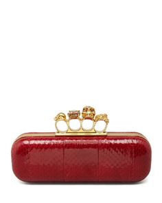 ddc7ec727910 Alexander McQueen Knuckle-Duster Snakeskin Box Clutch Bag, Ruby $1,147 -  See more at