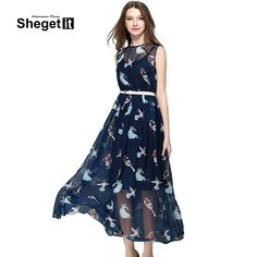 Shegetit Women Chiffon Bird Printed Maxi Dress 2016 Summer Style Casual Sleeveless Beach Long Dresses Ukraine Vestido De Festa ** Be sure to check out this awesome product.