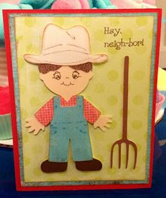 Hay Neigh-bor! - Cricut card made using Everyday Paper Dolls, Imagine More Cards, Peachy Keen Stamps (Wide Eyed Kids) and My Pink Stamper...