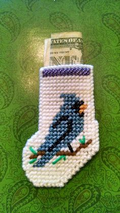Blue Jay stocking plastic canvas Christmas by 3rdGenerationSewn