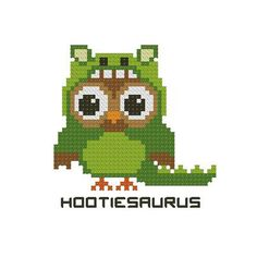 Cross Stitches Hootie Dino Hootiesaurus - PinoyStitch - Counted Cross Stitch Patterns of artist paintings, mini cross stitch, modern cross stitch. Stitcher Accessories and more. Cross Stitch Owl, Baby Cross Stitch Patterns, Cross Stitch Animals, Modern Cross Stitch, Cross Stitching, Cross Stitch Embroidery, Embroidery Patterns, Owl Patterns, Perler Patterns