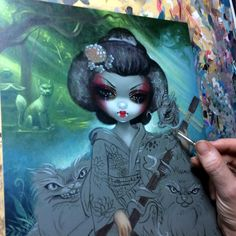 "WIP for ""Kirin and Bakemono"" for Corey Helford Gallery EAST/WEST show - contact Sherri@coreyhelfordgallery.com  if interested in original painting.  #beautfifulbizarre #strangeling #jasminebecketgriffith #art #coreyhelfordgallery #bakeneko #inari #yokai #kirin #shamisen #geisha #eastwest #popsurrealism #popsurrealist #newcontemporary #newcontemporaryart #fantasyart #wip #art #painting #acrylics #artist #cat #cats #catart #bigeyes #bigeyeart #lowbrowart #bigeyedart"