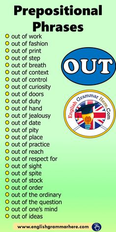 Prepositional Phrases OUT List, Example Phrases - English Grammar Here Essay Writing Skills, English Writing Skills, Writing Words, English Lessons, English English, Learn English Grammar, English Language Learning, Learn English Words, Teaching English