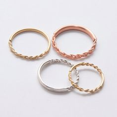 Ideas Rose Gold Wedding Band Thin Stackable Rings For 2020 14k Gold Ring, Gold Rings, 18k Gold, Bijoux Or Rose, Stacked Wedding Rings, 14 Carat, Braided Ring, Celtic Rings, Piercing