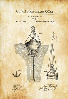 Nautical Buoy Patent Print - Vintage Nautical, Naval Art, Sailor Gift, Sailing Decor, Nautical Decor, Beach House Decor, Boating Decor by PatentsAsPrints on Etsy https://www.etsy.com/listing/292928735/nautical-buoy-patent-print-vintage