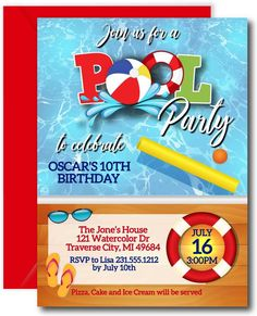 Pool Party Invitations #poolparty #invitations #birthdayinvitations 50th Anniversary Invitations, Pool Party Birthday Invitations, Birthday Invitation Templates, Invitation Ideas, Invites, Pool Party Kids, Pizza Party, Instant Access, Card Templates