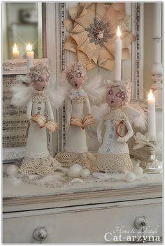 Cat-arzyna: Choir of Angels Shabby Chic Christmas, Silver Christmas, Victorian Christmas, Handmade Christmas, Vintage Christmas, Green Christmas, Christmas 2015, Christmas Colors, All Things Christmas
