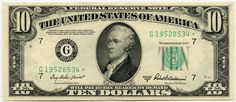 A series of federal reserve note in the denomination of ten dollars from the New York Federal Reserve Bank and will grade almost uncirculated. This United States currency is designated as Friedberg and is signed by Clarke and Snyder. 5000 Dollar Bill, One Dollar, Dollar Money, Federal Reserve Note, Money Worksheets, Free Worksheets, Thousand Dollars, Dollar Bill Origami, James Madison