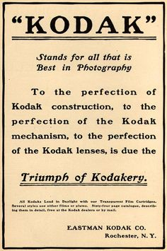 """Kodak"" - Triumph of Kodakery | Vintage Kodak Ad - 1901"