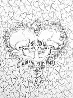 Items similar to Medium Til Death do us part Wedding Guest book, Alternative wedding, Hand Drawn in ink, includes 1 pen for guest to sign hearts. on Etsy Skull Coloring Pages, Love Coloring Pages, Printable Adult Coloring Pages, Coloring Books, Coloring Sheets, To Color, Book Art, How To Draw Hands, Drawings