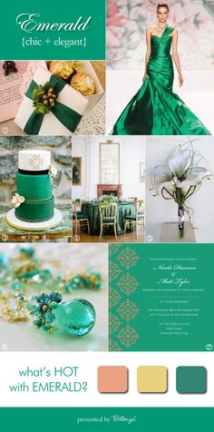 Emerald inspiration board from Bellenza.  #stpatrickswedding #stpatricksbridalshower