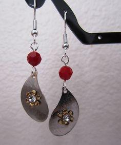 Dark Red Coral an Wavy Teardrop Earring. $12.00, via Etsy.