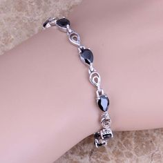 Glaring Black Created Sapphire 925 Sterling Silver  Link Chain Bracelet 7 - 8 inch  S0593