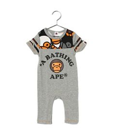 BAPE KIDS(ベイプキッズ)のALL BABY MILO MIX FOOTBALL ROMPERS(Tシャツ/カットソー) グレー
