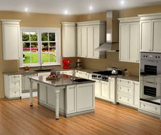 Traditional White Kitchen Design / 3d Rendering
