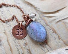 yoga necklace - yoga jewelry - om necklace - gemstone yoga necklace - om jewelry - labradorite, quartz by OmSaha on Etsy https://www.etsy.com/listing/211134203/yoga-necklace-yoga-jewelry-om-necklace