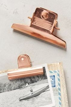 Copper-Plated Desk Clips - anthropologie.com