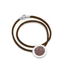 CJ Silver Charm Leather Necklace Marsala Attitude