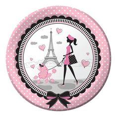 Party In Paris Paper Dinner Plates X 8 - Eiffel Tower/Poodle Theme