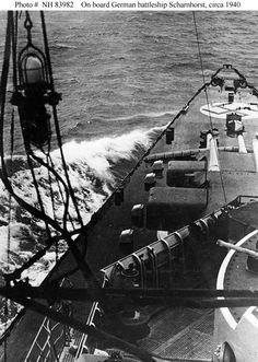 Front deck of German battlecruiser Scharnhorst, circa 1940.