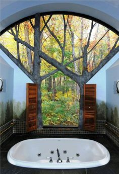 I Love Unique Home Architecture. Simply stunning architecture engineering full of charisma nature. Dream Bathrooms, Beautiful Bathrooms, Hotel Bathrooms, Rental Bathroom, Luxury Bathrooms, Interior And Exterior, Interior Design, Window View, Earthship