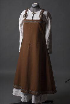 Viking apron dress and underdress with herringbone stitch embroideries.