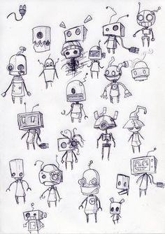 Robot Sketches - looks like the robots from Machinarium.: