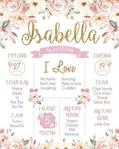 Personalized Birthday Board, Printable First Birthday Print Sign Poster, Floral Dusty Pink Gold Girl's Milestone Chalkboard First Birthday Theme Girl, First Birthday Posters, First Birthday Chalkboard, First Birthday Parties, Birthday Party Themes, First Birthdays, Birthday Ideas, As You Like, Floral Style