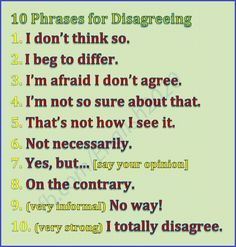 10 Phrases for Disagreeing - English Conversations Learn English Grammar, English Language Learners, English Phrases, English Words, English Lessons, Teaching English, Vocabulary Sentences, Teaching Vocabulary, Grammar And Vocabulary