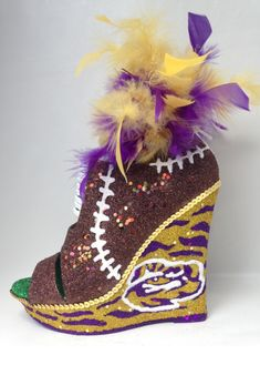 Glittered Game Day Football Wedge Shoes   http://www.glitterbuzznola.com/2016/09/26/glittered-game-day-football-wedge-shoes/