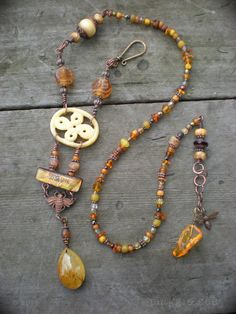 A Prayer For the Bees Honey Amber Amulet Necklace by maggiezees, $125.00