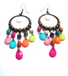 Jelly Bronze, Colorful beads, Antiqued Brass Earrings