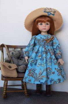 "Blues & Browns Dress, Hat, Purse, Slip for Little Darling 13"" Dianna Effner doll"