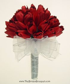 Red Tulip Hand Tie 3 Dozen Tulips - Wedding Bouquet