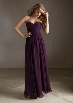 Classic Strapless Bridesmaid Dress - 20 Most Elegantly Designed Plum Bridesmaid Dresses - EverAfterGuide