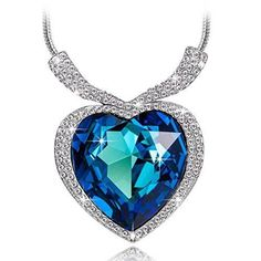 Valentines Day Gift for Her Pendant Necklace Heart Shape Blue SWAROVSKI Crystal #ValentinesGift